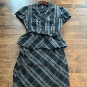 AGB peplum belted skirt suit